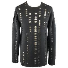 DAMIR DOMA Size 38 Black Distressed Wool / Cashmere Crewneck Pullover