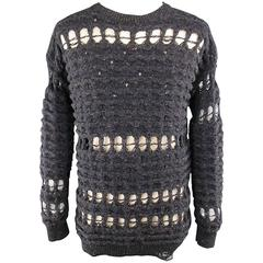 DAMIR DOMA Size 36 Charcoal Destroyed Stripe Wool / Cashmere Crewneck Sweater
