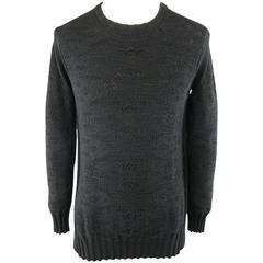 SILENT by DAMIR DOMA Size S Black Textured Cotton Knit Crewneck Slit Pullover