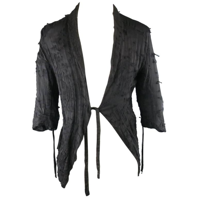 DAMIR DOMA 36 Black Pill Textured Sheer Silk / Wool Half Wrap Jacket