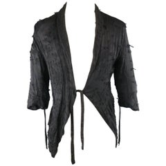 DAMIR DOMA 36 Black Pill Textured Sheer Silk / Wool Half Wrap Coat