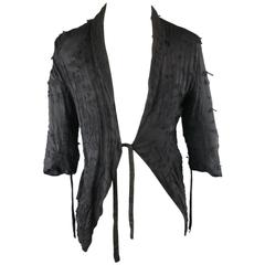 DAMIR DOMA Jacket - 36 Black Pill Textured Sheer Silk / Wool Half Wrap Coat