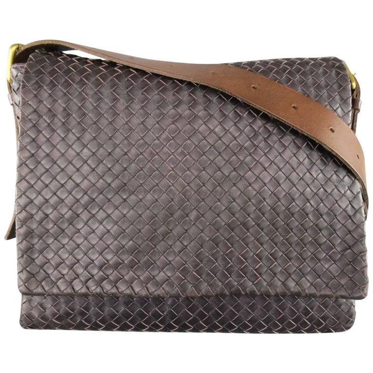 BOTTEGA VENETA Bag Eggplant Intrecciato Woven Leather Brown Belt Strap  Messenger For Sale 37d0afdc94d7c