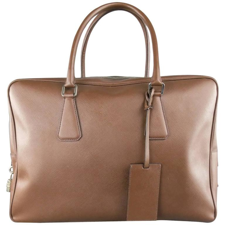 PRADA Light Brown Saffiano Leather Silver Lock Briefcase For Sale