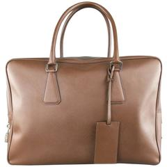 PRADA Light Brown Saffiano Leather Silver Lock Briefcase