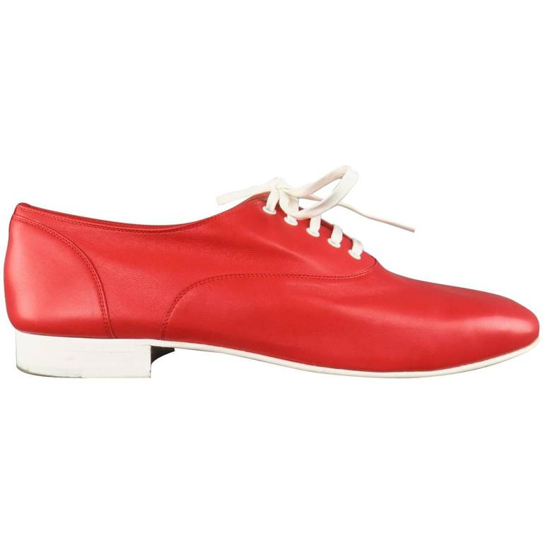 Men's CHRISTIAN LOUBOUTIN Size 9 Red & White Leather ALFRED FLAT Lace Up 1