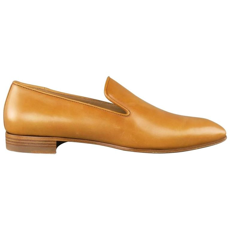 3510f6fdcc7 Men's CHRISTIAN LOUBOUTIN Size 9 Miele Tan Leather DANDELION FLAT ...