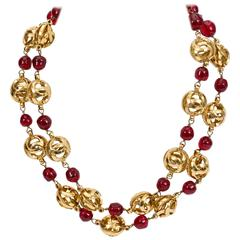 Chanel Double Strand Red Gripoix Choker Necklace