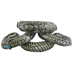 Set of 4 Antique Silver Bedouin Tribal Ethnic Cuff Bracelets