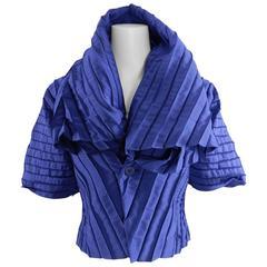 Issey Miyake Blue Pleated Evening Jacket