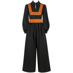 OSCAR DE LA RENTA Boutique c.1970's Black Wool Crepe Long Sleeve Belted Jumpsuit