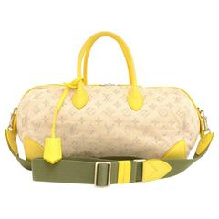 Louis Vuitton Denim Speedy Round PM Yellow Leather 2Way Bag - 2012 Limited