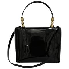 Christian Dior Lady Dior Bag in Vintage Black Patent Leather