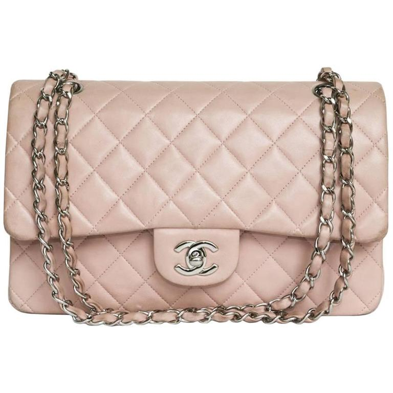 CHANEL Timeless Flap Shoulder Bag in Pink Leather  For Sale