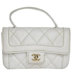Chanel Mini White leather Bag with Gold Jewelery