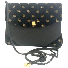 Vintage LANVIN black velvet and fabric clutch shoulder bag with paisley prints.