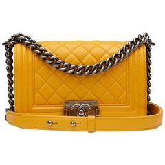 2010s Chanel Mustard Quilted Lambskin Small Le Boy
