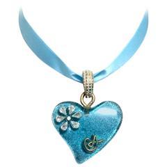 Vintage Christian Lacroix blue ribbon choker necklace with blue lame heart top.