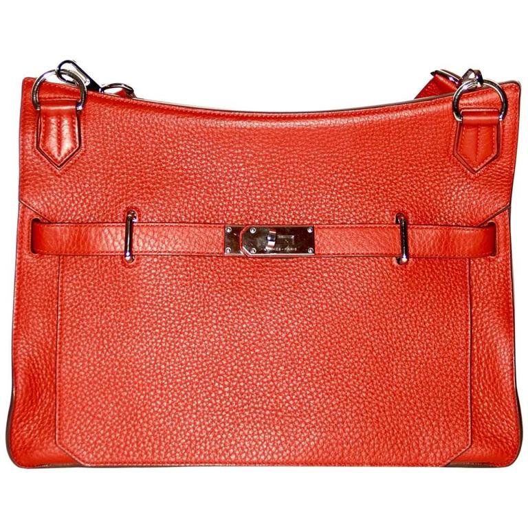 HERMES JYPSIERE 37 Rouge Brique Taurillon Clemence Leather Crossbody Bag