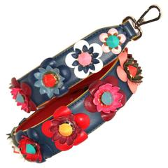 "Fendi Shoulder Strap ""Strap You"" Navy Blue / Multicolored Flowers"
