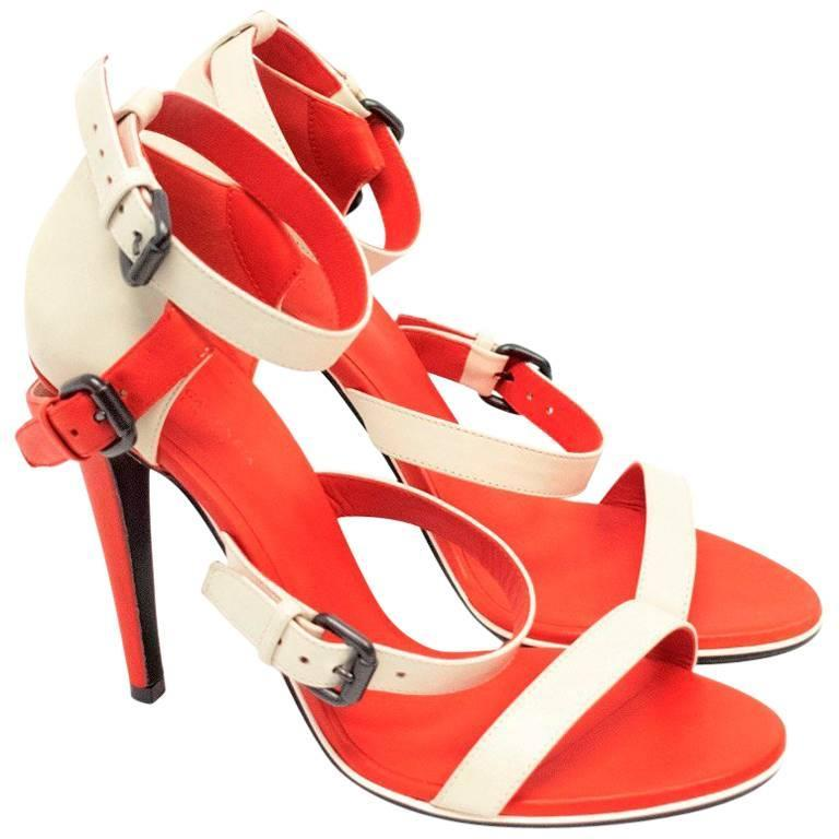 Bottega Veneta Beige and Red Strappy Sandals