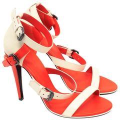 Bottega Veneta Beige and Red Strappy Sandals