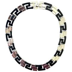 1990's Gianni Versace black and silver greek pattern necklace