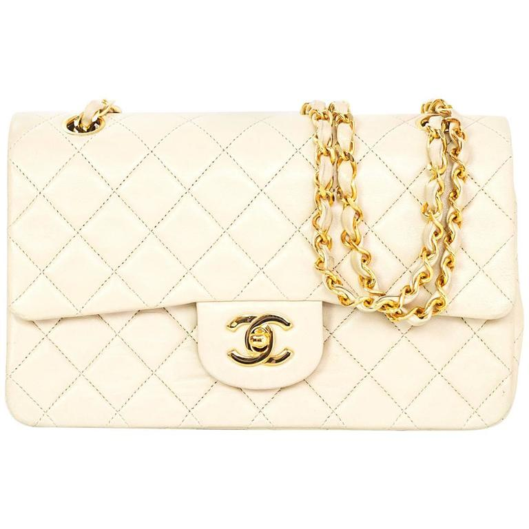 b351883f84c0 Chanel Vintage Cream Quilted Lambskin Small 9