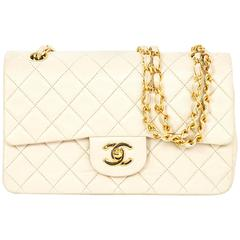 "Chanel Vintage Cream Quilted Lambskin Small 9"" Classic Double Flap Bag"