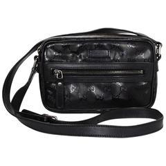 Gucci Black Glazed Monogram Camera Bag