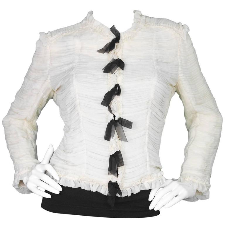 Chanel Cream and Black Silk Ruched Jacket sz FR42 For Sale at 1stdibs