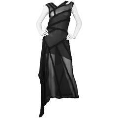 Chanel Black Silk Chiffon Sleeveless Dress