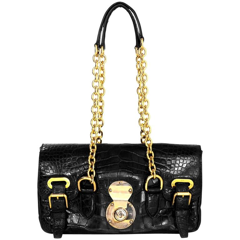 Ralph Lauren Black Alligator Ricky Shoulder Bag 1