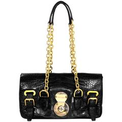 Ralph Lauren Black Alligator Ricky Shoulder Bag