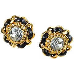 Chanel Vintage Gold Tone Black Leather Crystal Clip Earrings
