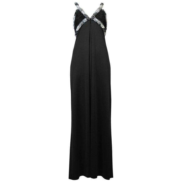 Loris Azzaro Black Beaded Gown For Sale