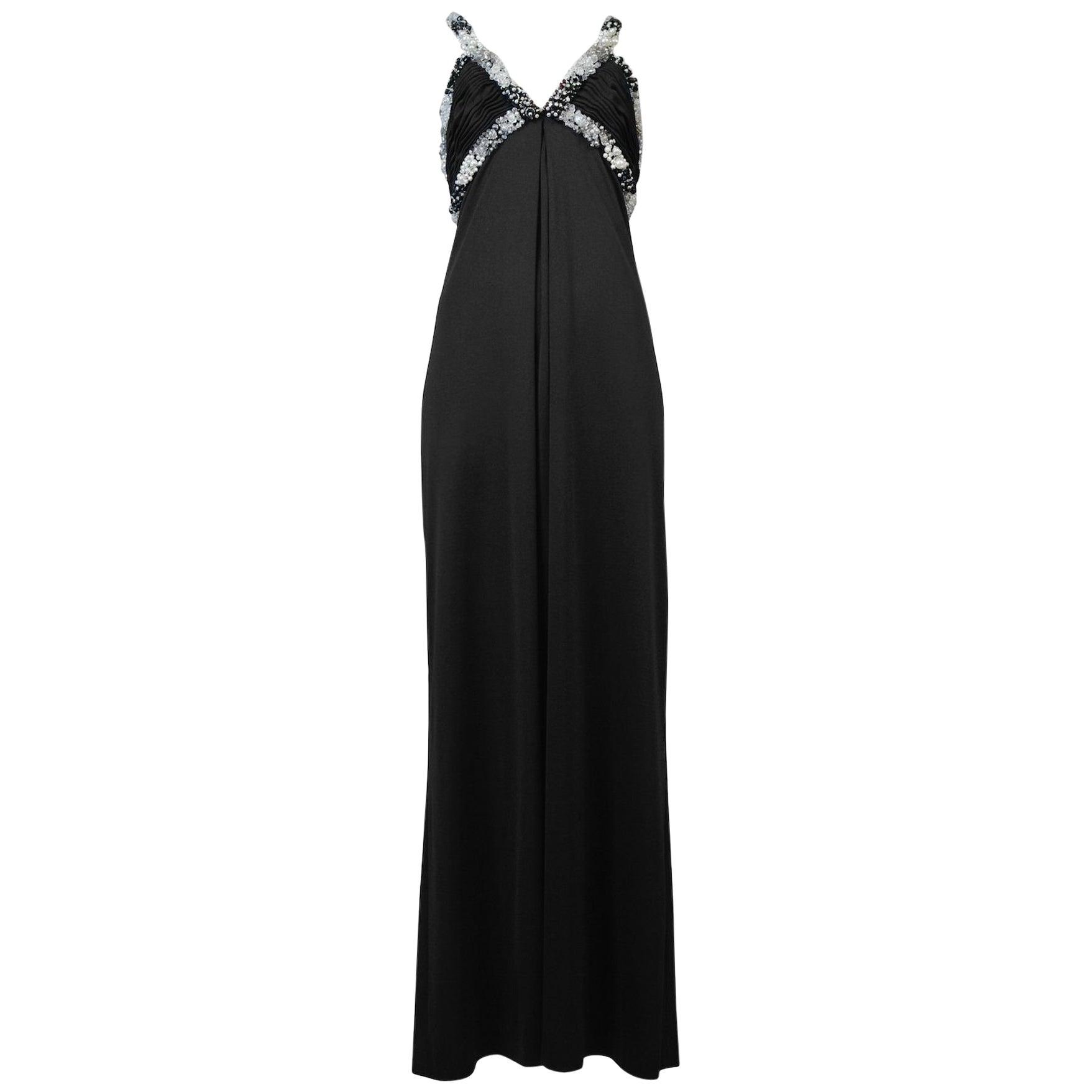 Loris Azzaro Black Beaded Gown