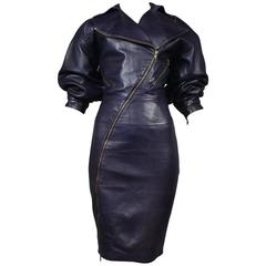 Alaia Iconic Eggplant Leather Zipper Dress 1986