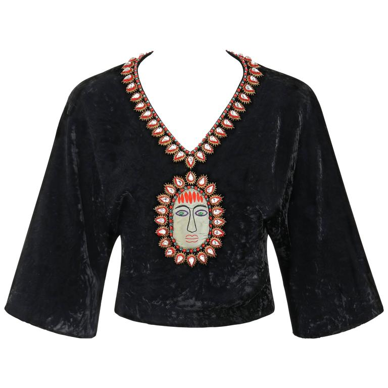 GUCCI c.1970s Black Crushed Velvet Bead Embellished Bohemian Cropped Blouse RARE For Sale