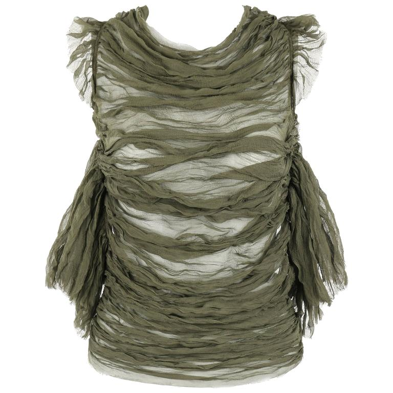 "ALEXANDER McQUEEN S/S 2003 ""Irene"" Olive Green Silk Chiffon Lace Back Blouse"