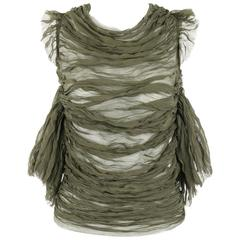 "ALEXANDER McQUEEN S/S 2003 ""Irere"" Olive Green Silk Chiffon Lace Back Blouse"