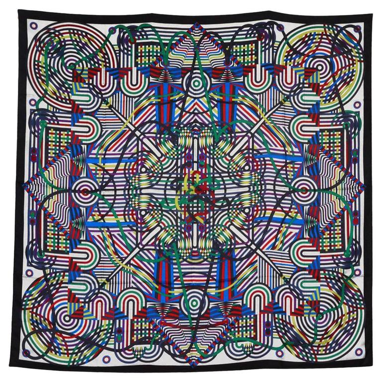 "Gorgeous Geometric Hermes 54"" Silk Shawl For Sale"