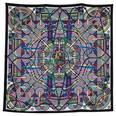 "Gorgeous Geometric Hermes 54"" Silk Shawl"