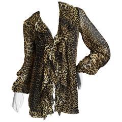 Jean Paul Gaultier Soleil Vintage Ruffle Front Leopard Print Cardigan