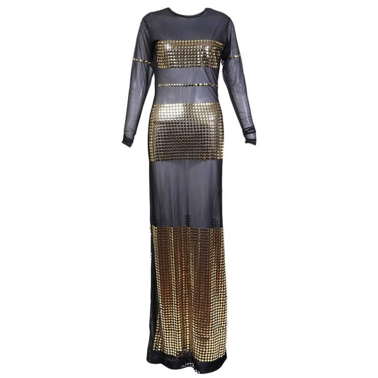 Todd Oldham Mesh and Gold Button Dress circa 1990s