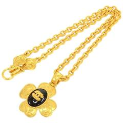 Chanel CC Gold Tone Flower Motif Pendant Necklace