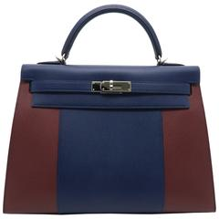 Hermes Kelly 32 Navy Blue and Red Epsom Leather Top Handle Bag