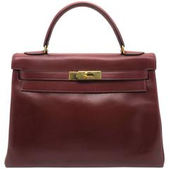 Hermes Kelly 32 Rouge H Red Box Calf Leather GHW Top Handle Bag