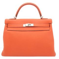 Hermes Kelly 32 Capucine Orange Togo Leather SHW Top Handle Bag