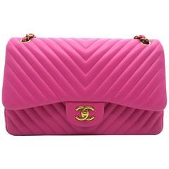 Chanel Chevron Double Flap Pink Lambskin Leather Chain Shoulder Bag